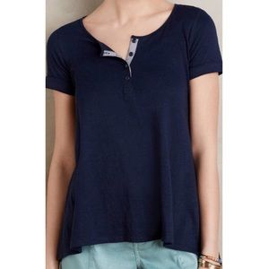 Anthropologie Postmark Navy Downtime Henley Tee XS
